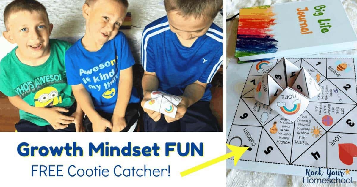 Get your kids excited about learning about a growth mindset using this free printable cootie catcher! Great for family, homeschool, & classroom fun!