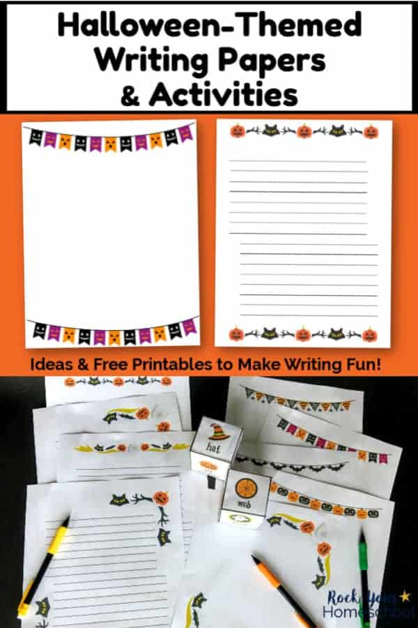 2 free printable Halloween writing pages on orange background and 11 pages of Halloween writing printables with mechanical pencils on black background
