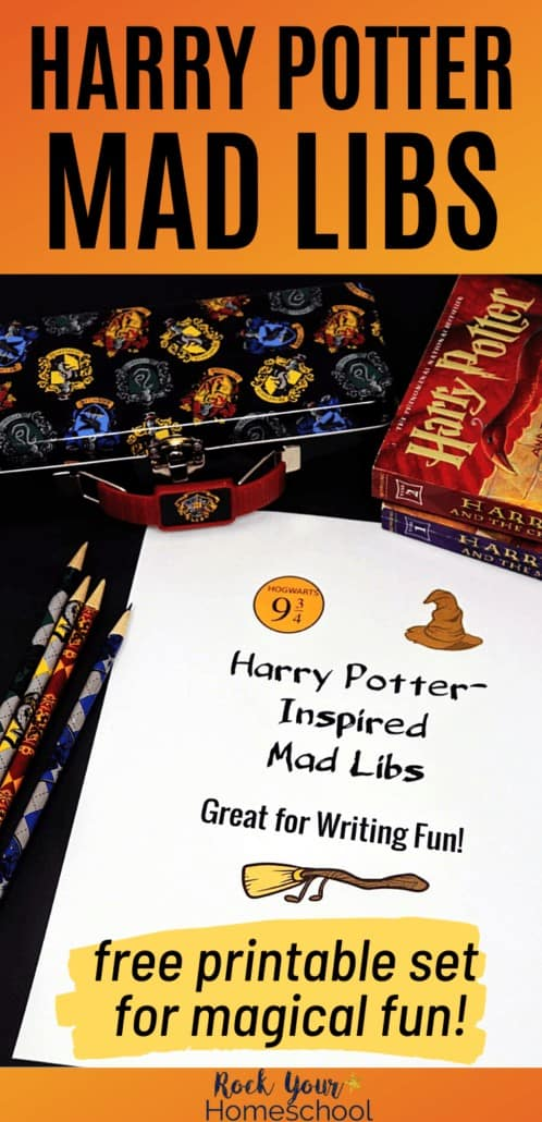 Harry Potter-Inspired Mad Libs with Harry Potter pencils, book, & pencil case to feature the magical learning fun you can have with your Harry Potter fans