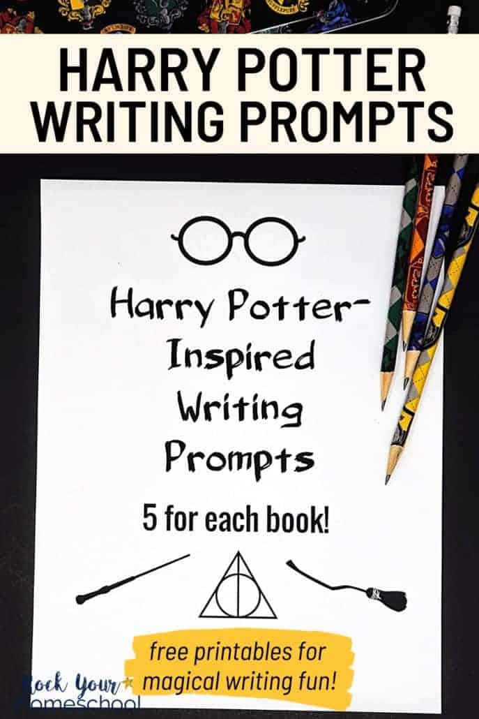Harry Potter-Inspired Writing Prompts with Harry Potter pencils to feature the magical writing fun you can have with these free writing prompts printables