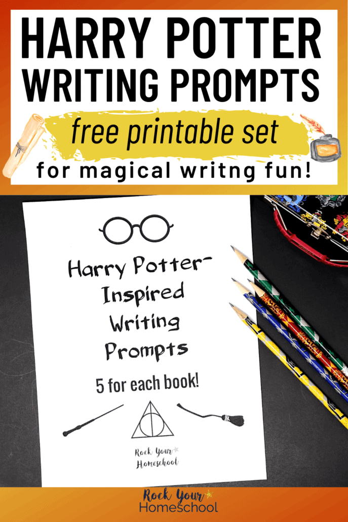 Harry Potter-Inspired writing prompts with pencils & pencil case to feature the magical writing fun you can have with these free printable writing prompts