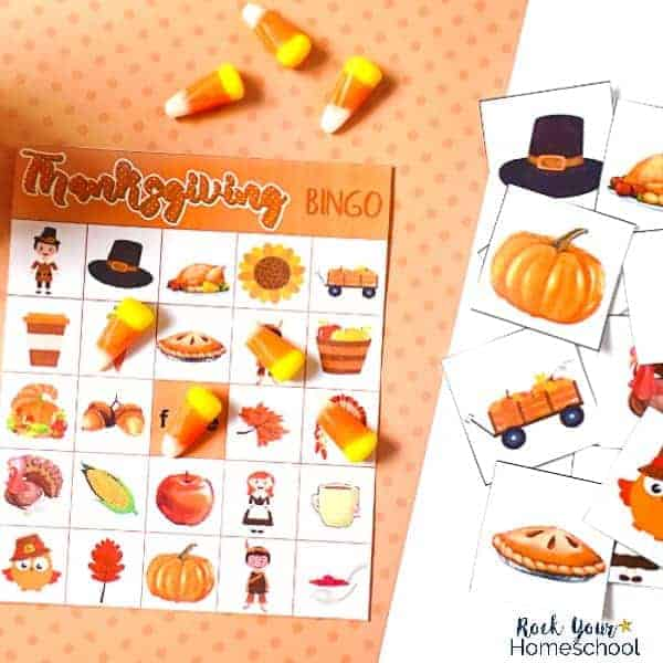 graphic about Free Printable Thanksgiving Bingo Cards identified as Free of charge Thanksgiving Bingo Recreation - Rock Your Homeschool