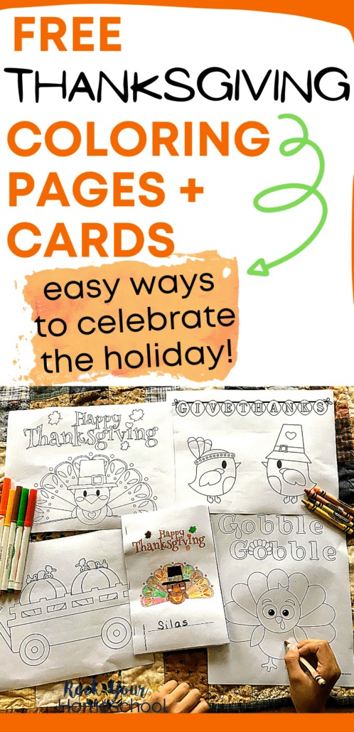 Boy working on Thanksgiving coloring pages and cards to feature how these free printable activities can help you get excited about & celebrate the holiday