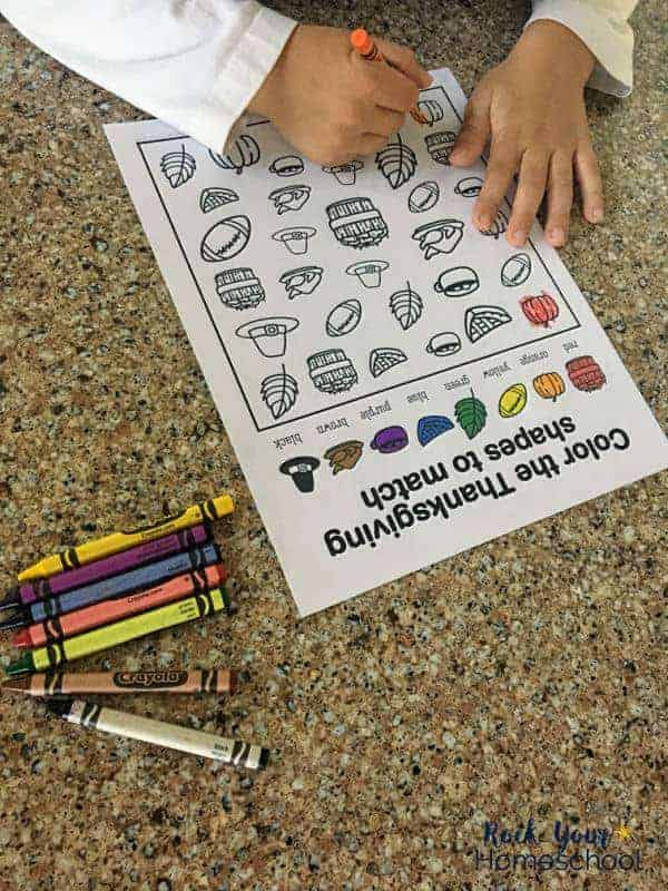 You can use this free printable Thanksgiving coloring activity with preschoolers and older kids.