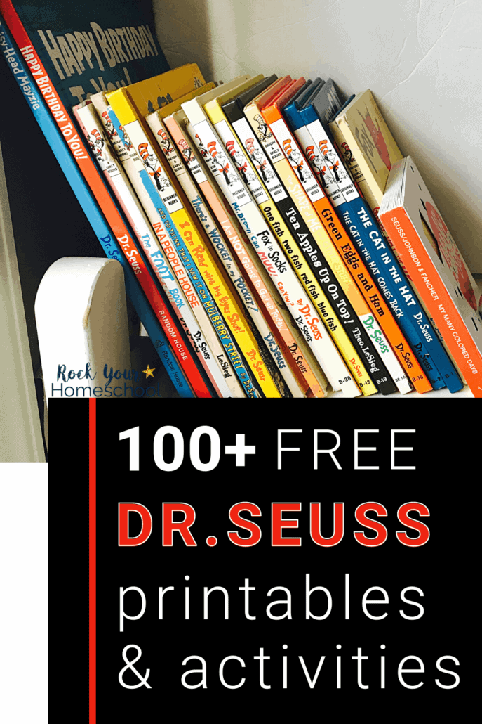 Leaning stack of Dr. Seuss books to feature the fantastic fun you'll have with your kids using these 100+ free Dr. Seuss printables and activities