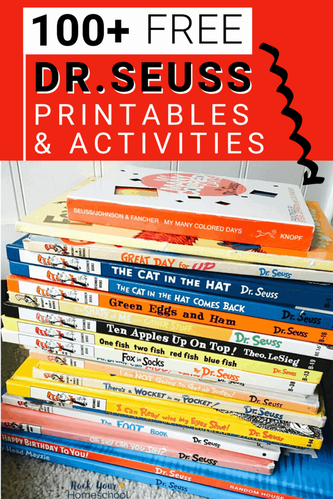 Stack of Dr. Seuss books to feature the amazing learning fun you'll have with your kids using these 100+ free Dr. Seuss printables & activities