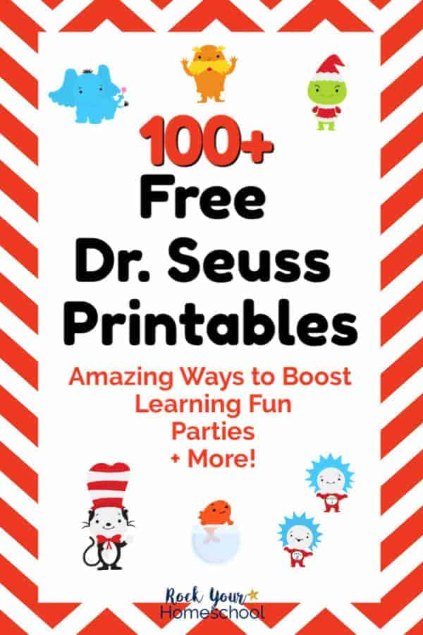 Horton the Elephant, The Lorax, The Grinch, The Cat in the Hat, The Fish, Thing 1, & Thing 2 cute clip art figures on red & white chevron background to feature 100+ Free Dr. Seuss Printables to boost learning fun, parties, & more