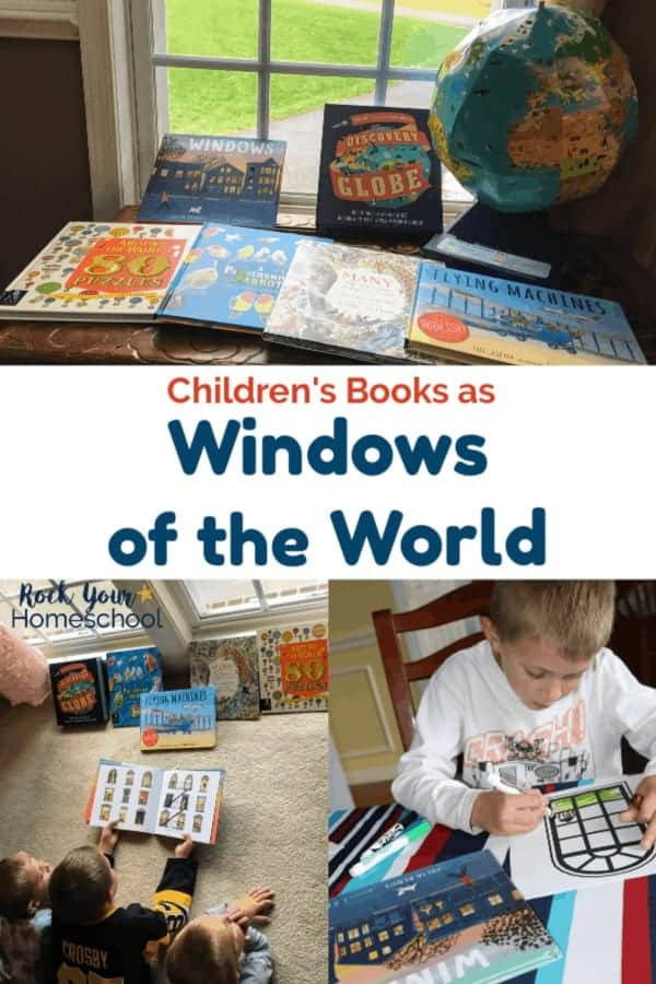 Children's books by Candlewick Press on wood chest in front of window and three boys laying on carpet reading book in front of window and boy coloring art project with book