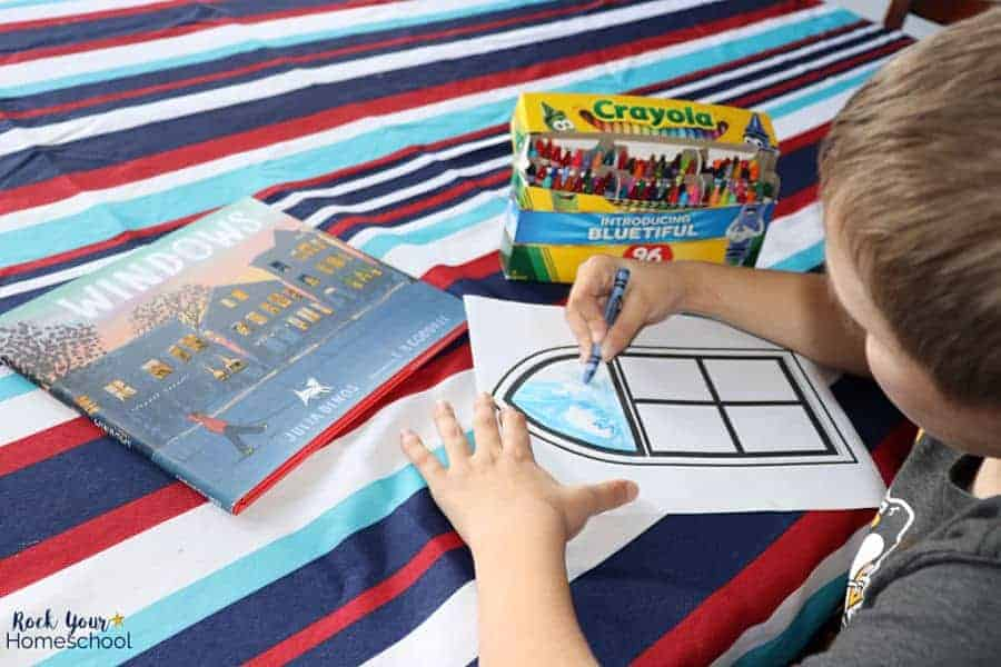 Pair this observational art activity with children's books that act as windows of the world.