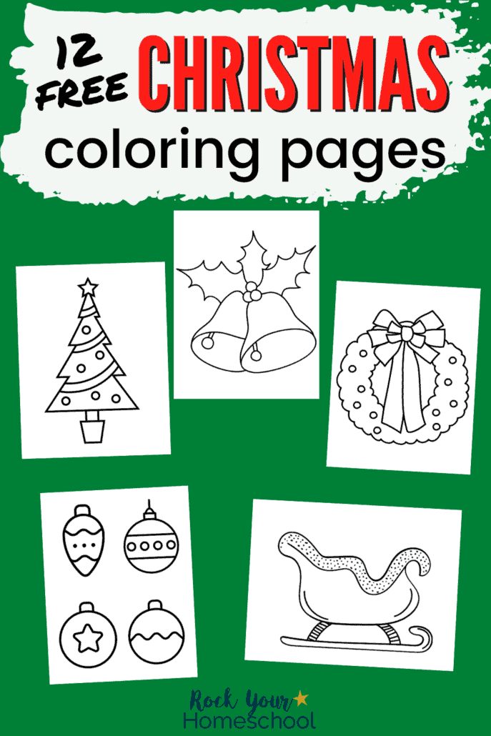 Christmas coloring pages featuring Christmas tree, bells, wreath, ornaments, and sleigh to feature the awesome creative fun your kids will have with this set of 12 free Christmas coloring pages