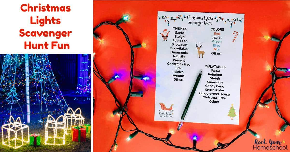 Enjoy easy holiday fun with your family using this free printable Christmas Lights Scavenger Hunt.
