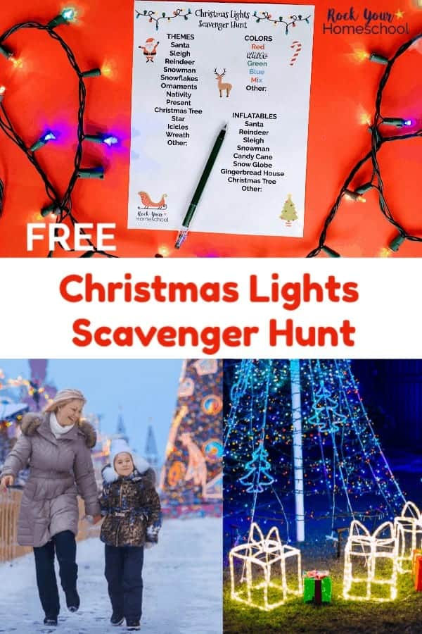 Christmas lights scavenger hunt printable with green pen & multi-colored lights on red background and mother & daughter walking in snow looking at Christmas lights and nighttime display of Christmas lights