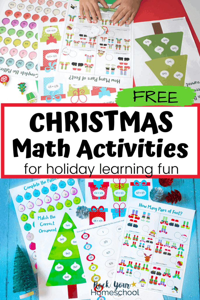 Boy using Christmas math activities to feature the variety of ways you can make math time fun during the holiday season