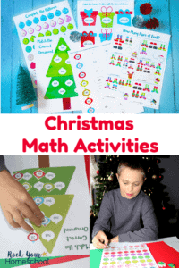 4 free printable Christmas math activities on light blue wood-like paper with small green tree & red & silver pinecones and boy completing Christmas tree math puzzle & boy completing Christmas ornament worksheet