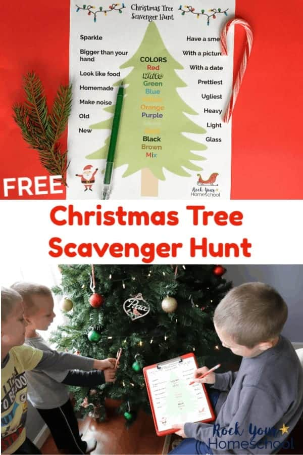 Christmas Tree Scavenger Hunt printable with green pen, candy cane, & pine sprig on red background and three boys standing in front of Christmas Tree looking at ornaments & scavenger hunt printable