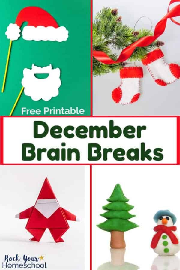 Santa beard & hat photo props on green backgroun, red & white stocking ornaments & pine branch with pine cones, Santa origami, & Christmas tree and snowman clay figures for fun December brain breaks