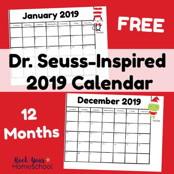 December 2019 Calendar Fun Dr. Seuss Inspired Calendar for 2019   Rock Your Homeschool