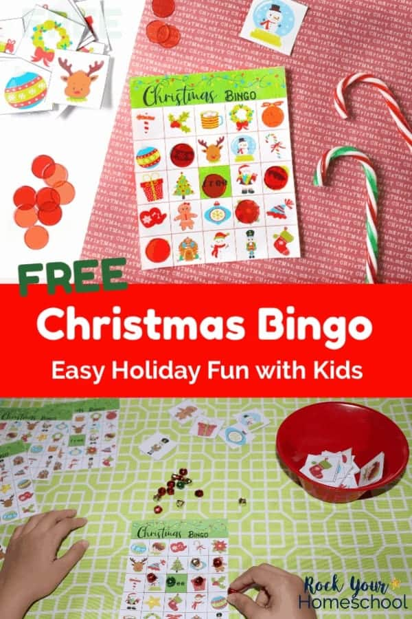 Christmas bingo game card & color chips & candy canes on red paper and boy playing Christmas bingo with jingle bells on light green tablecloth