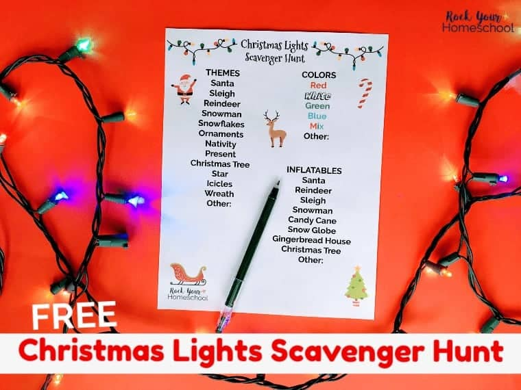 Have awesome holiday fun with your kids using this free printable Christmas Lights Scavenger Hunt. Great way to build observation skills & get conversations going.