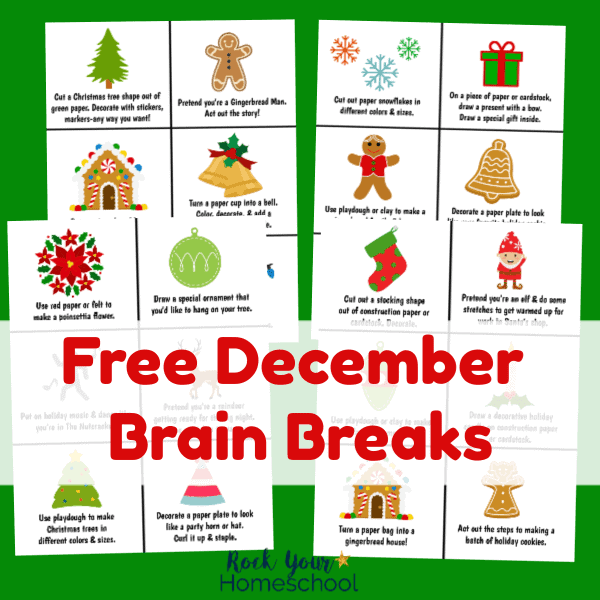 Have easy fun with kids this month! These free printable December Brain Breaks cards are awesome ways to enjoy fun activities with your kids.