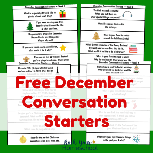 Enjoy these free December Conversation Starters for fun chats with kids. Great prompts for discussion & writing!