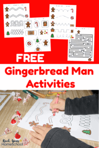 4 free printable gingerbread man activities on red background & young boy using crayon to complete printable gingerbread man activities for learning fun