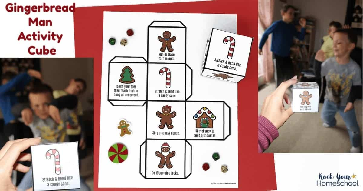 Help your kids burn off holiday energy & excitement with this free printable Gingerbread Man Activity Cube.