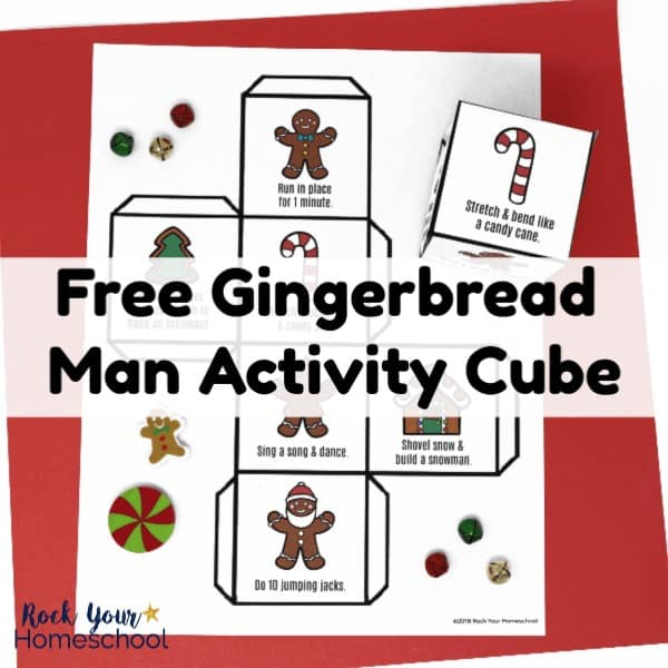 Have easy holiday fun with kids using this free printable Gingerbread Man Activity Cube! With prompts to get kids moving, this cube will help your kids burn off energy & have fun.
