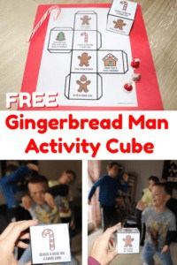 free gingerbread man activity cube on red paper with candies and boys moving & being silly