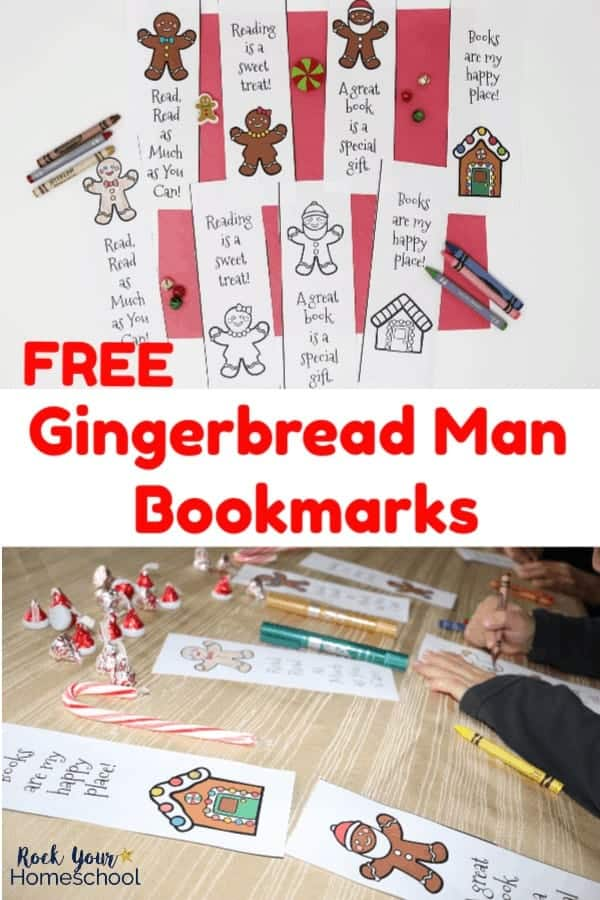 Set of printable Gingerbread Man bookmarks for coloring & ready-to-go on red paper with crayons, jingle bells, & mini-erasers and boy coloring bookmarks using crayons on gold tablecloth with candy cane & candies