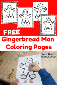 4 free Gingerbread Man Coloring Pages on red background and boy coloring a gingerbread man using a crayon on gold tablecloth
