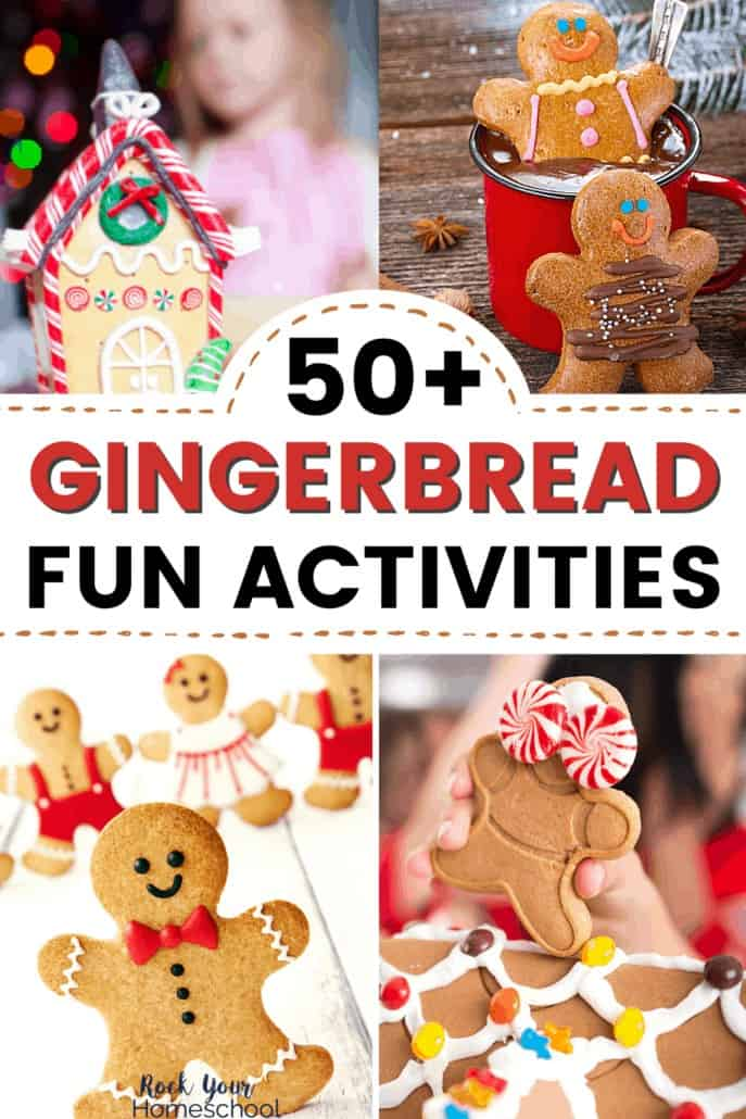 Gingerbread house with little girl, gingerbread man cookies in cocoa, variety of gingerbread cookies, & girl holding decorated gingerbread cookie on gingerbread house to feature the awesome holiday fun you'll have with your kids using any of these 50+ easy ways to have gingerbread man fun