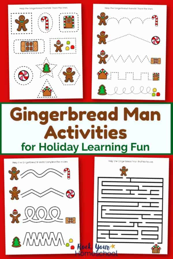 4 Gingerbread Man activities printable pages on red background for easy holiday learning fun with kids