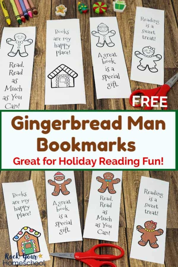 Free Gingerbread Man Printable Bookmarks to Color & Enjoy