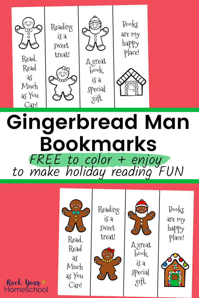 Gingerbread man bookmarks in black & white and color to feature how your kids will love using these free Gingerbread bookmarks to make holiday reading fun
