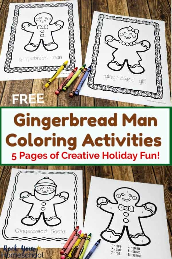Gingerbread man & girl coloring pages with crayons on wood background & gingerbread man santa & color by number with crayons on wood background