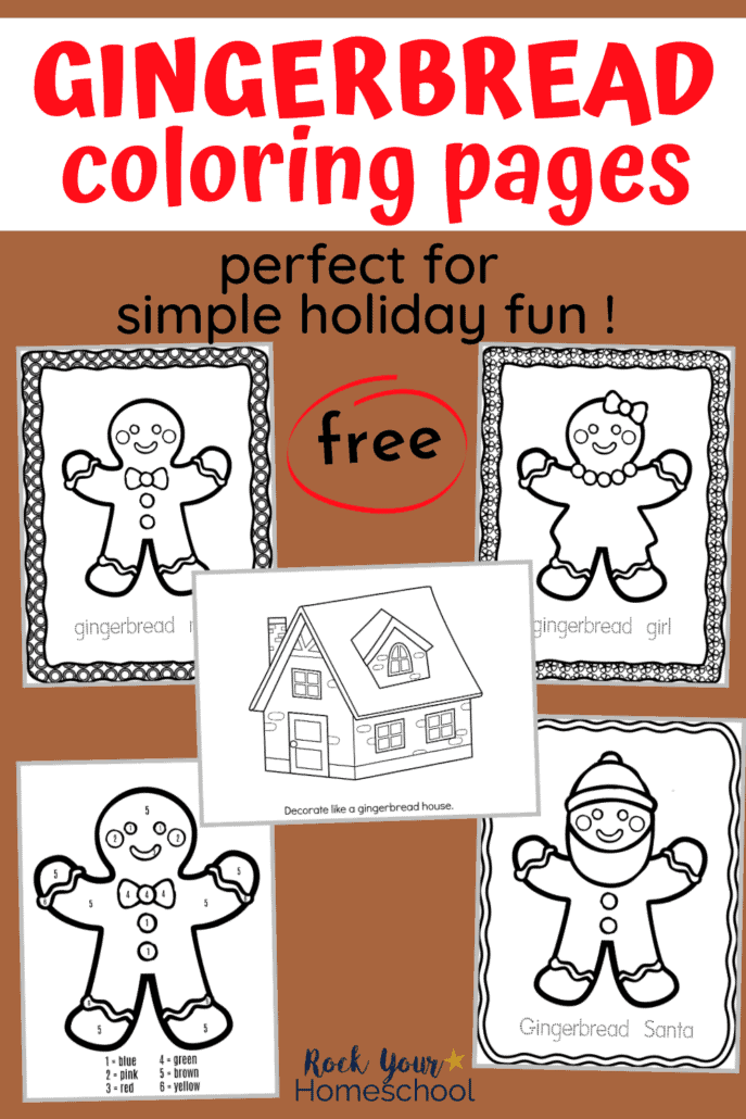 5 free gingerbread-themed coloring pages to feature to show how your kids will have so much holiday fun with these Christmas coloring worksheets