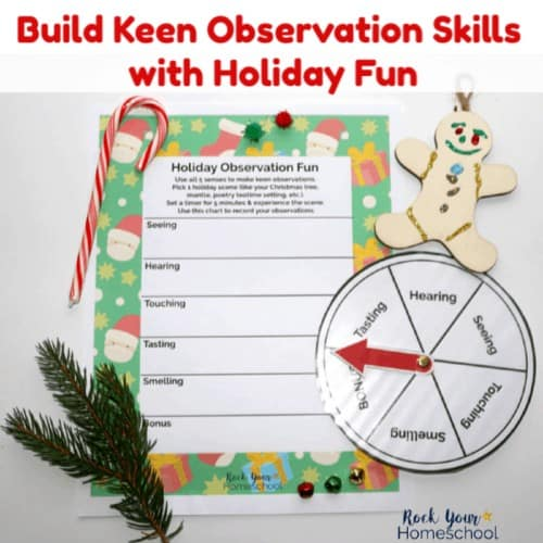 Help your kids build keen observation skills as you enjoy easy holiday fun with this free printable pack with activities to use all 5 senses.