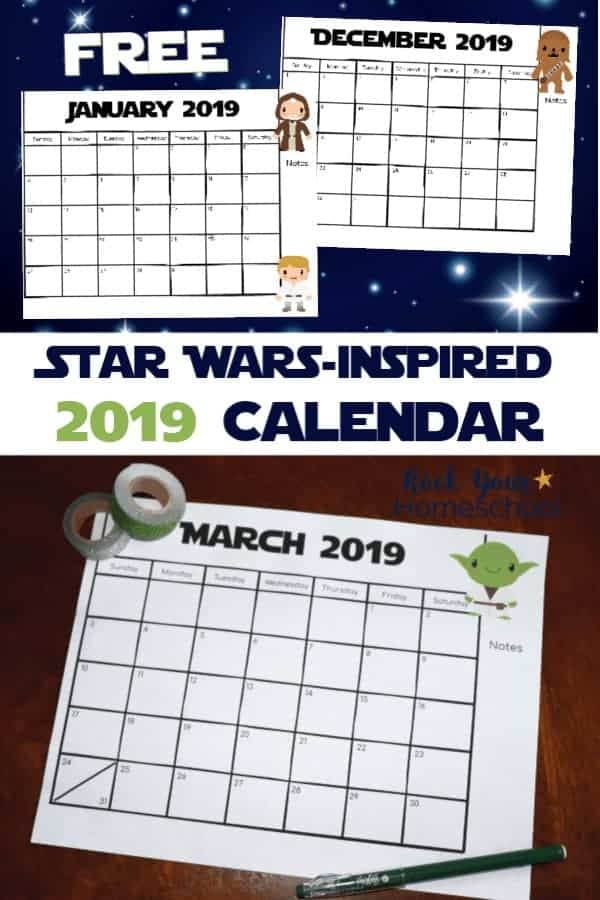 January & December Star Wars-Inspired 2019 monthly planner pages on navy blue white star background and Star Wars-Inspired March 2019 monthly calendar page featuring cute Yoda on dark wood desk with glitter washi tape
