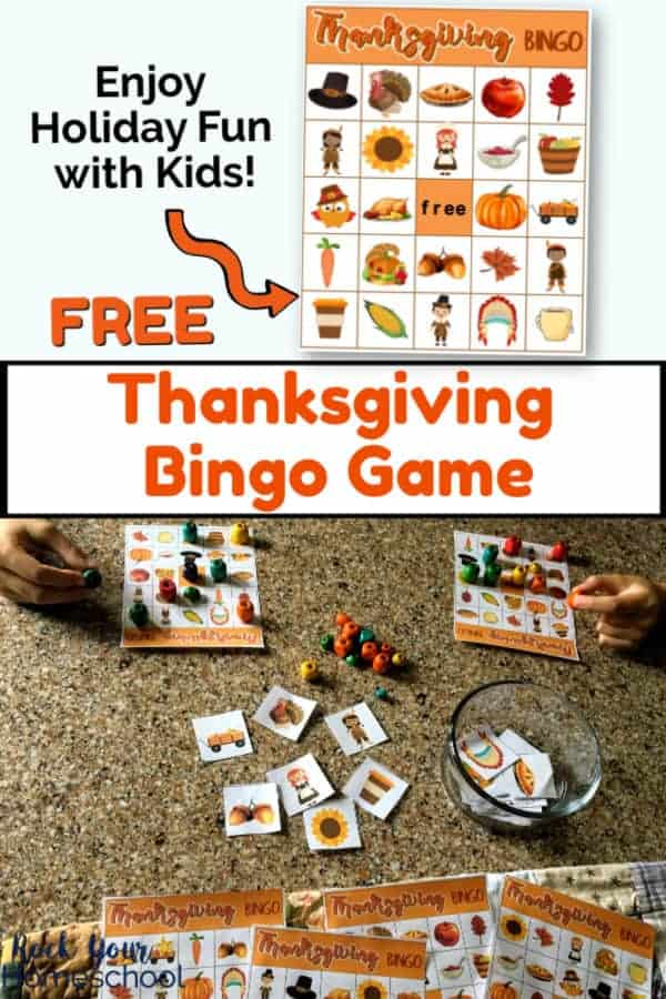 Thanksgiving bingo game card on white background & boys playing Thanksgiving Bingo Game with colorful wooden beads, calling cards, & glass bowl on granite surface