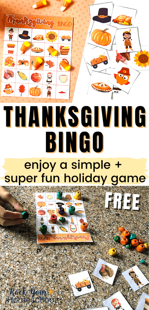 Thanksgiving bingo game with calling cards & boy using his bingo card to feature how this free Thanksgiving bingo game can help you enjoy extra special fun this holiday