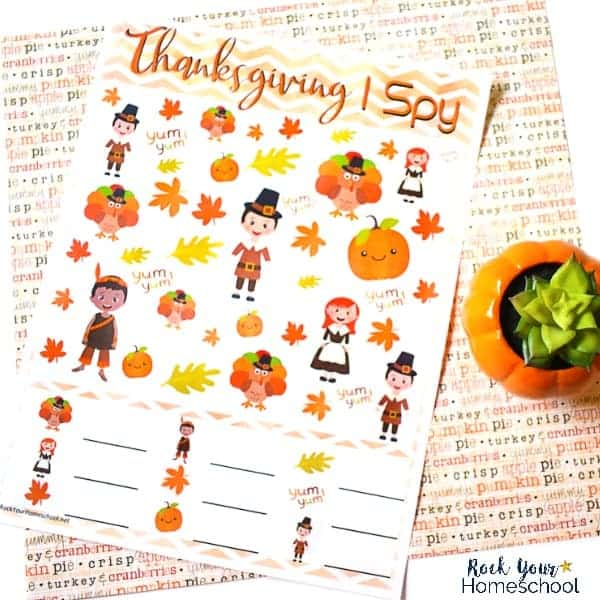 Enjoy easy holiday fun with kids using this free printable Thanksgiving I Spy activity.