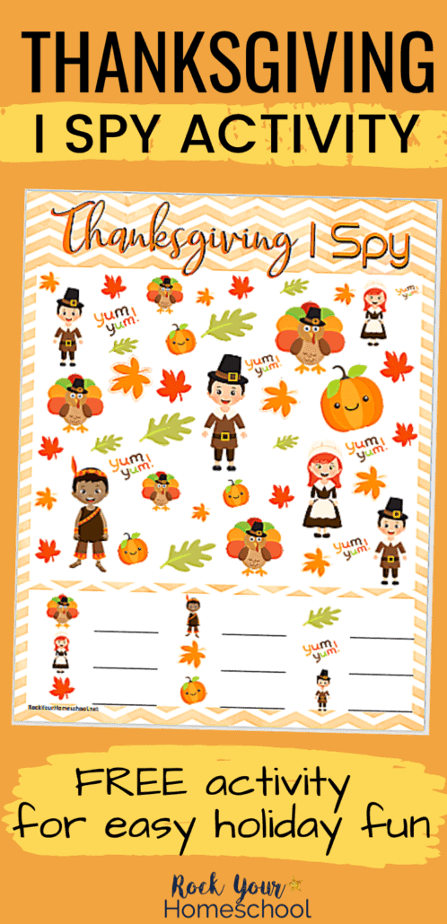 Thanksgiving I Spy Activity to feature the amazing holiday fun your kids will have with this free printable