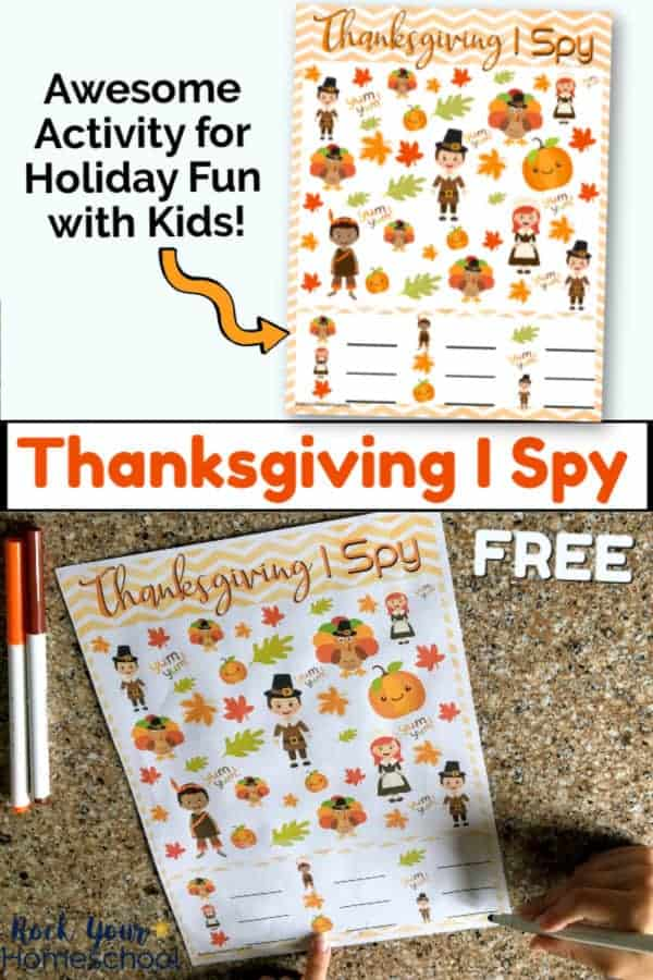 Thanksgiving I Spy printable on white background with orange arrow & Thanksgiving I Spy printable page with orange & brown markers with boy pointing to paper on granite background