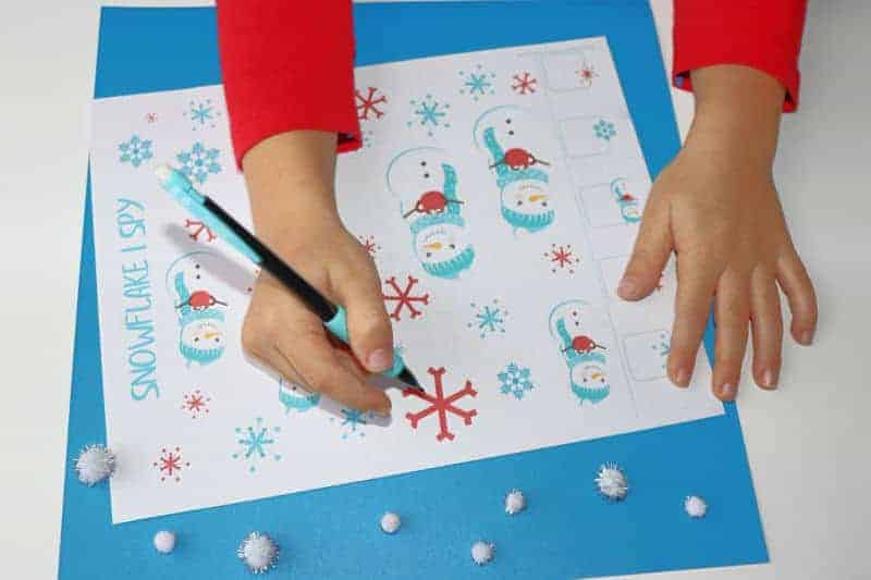 Snowflake I Spy is a fun game that's part of this free Snowflake Activities pack.