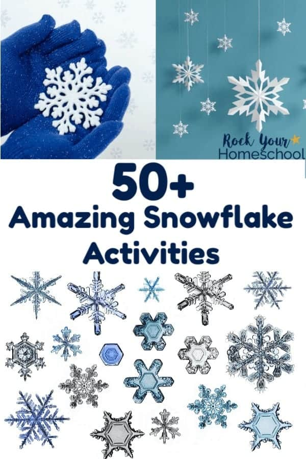 Blue gloves holding white snowflake & white paper snowflakes hanging with blue background & crystal snowflakes in silvers & blues for wonderful ways to enjoy snowflake activities with kids