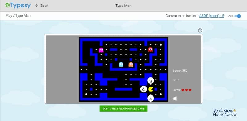 Enjoy a variety of typing games when you use Typesy, the best typing program for your homeschool.