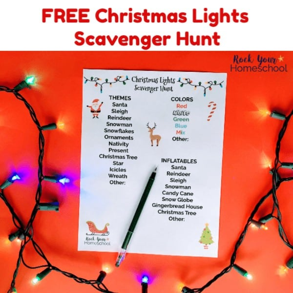 Have easy holiday fun with your family using this free printable Christmas Lights Scavenger Hunt.
