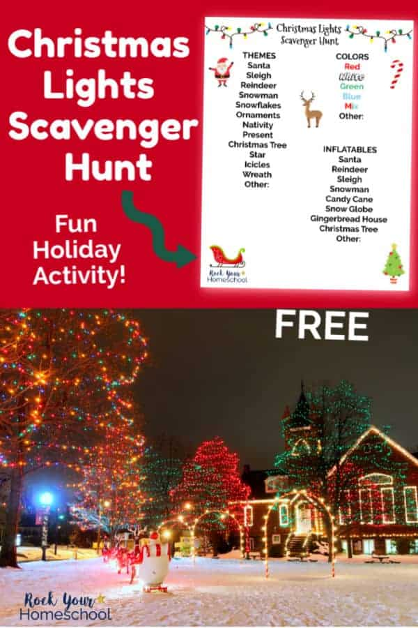 Christmas Lights Scavenger Hunt printable on red background & Christmas lights display on house, in yard with snow