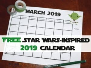 This free printable Star Wars-Inspired 2019 Calendar with monthly pages is an awesome way to have fun planning your year.